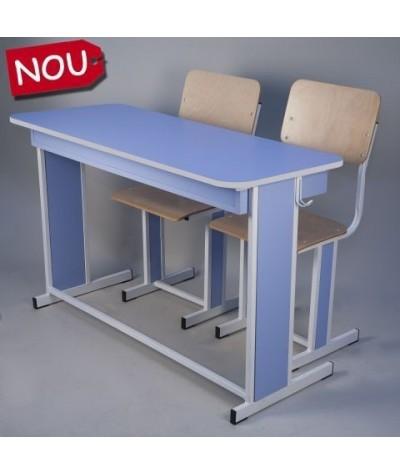 Banca scolara dubla fixa cu 2 scaune - TITAN-G